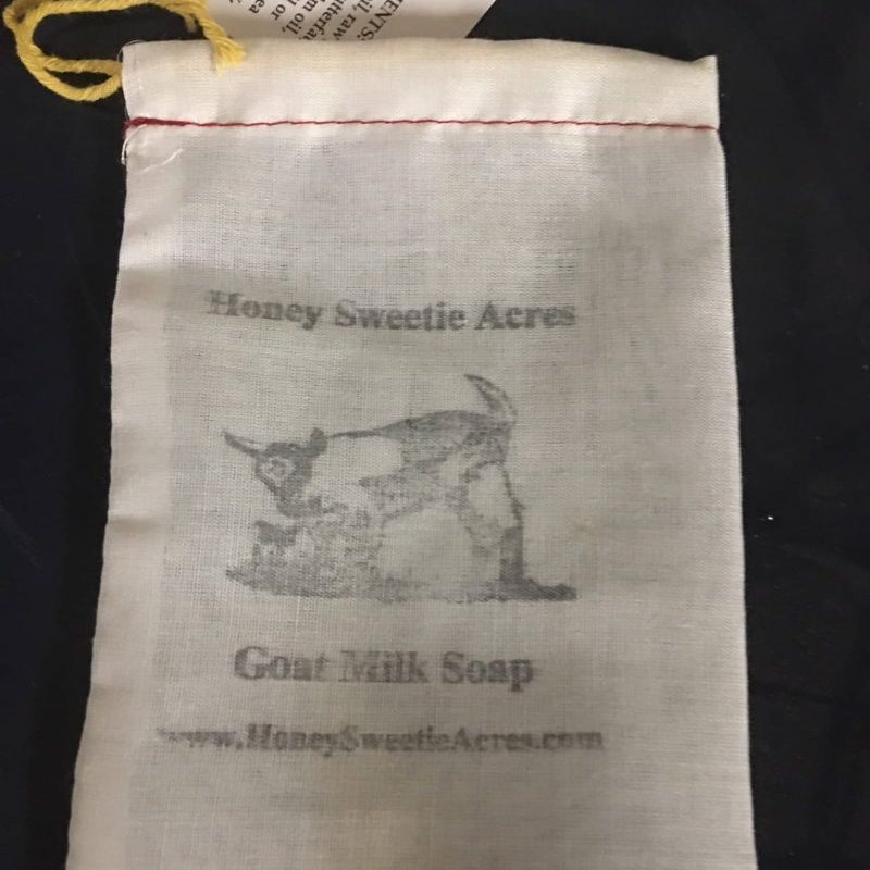 cotton stamped goat milk soap sacks