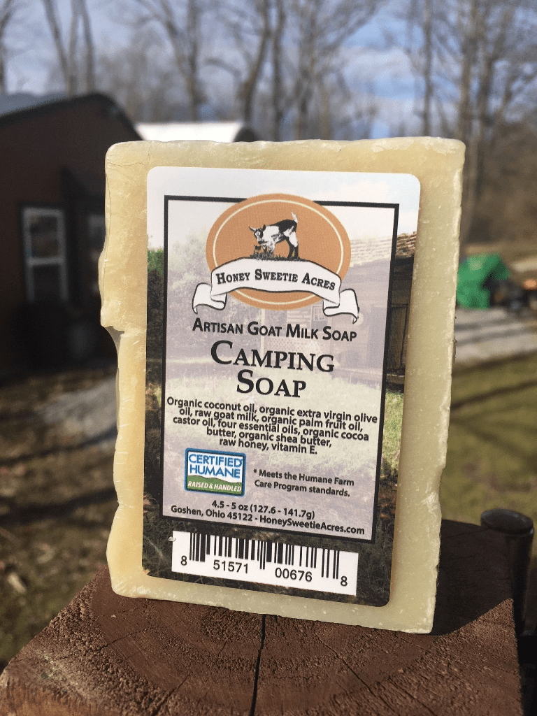 What ingredients are in your goat milk products? Camping Essential Oil Goat Milk Soap Bar